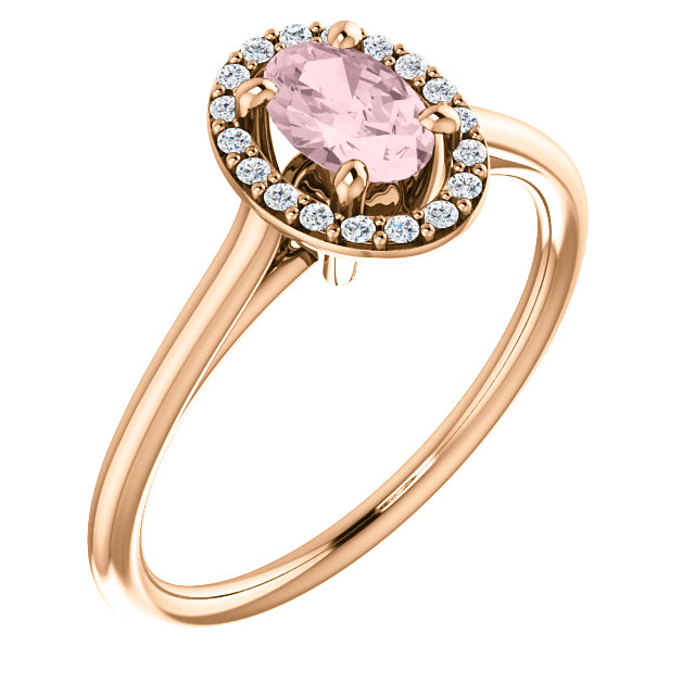 Wonderful 14 Karat Rose Gold Morganite & 0.10 Carat Total Weight Diamond Ring
