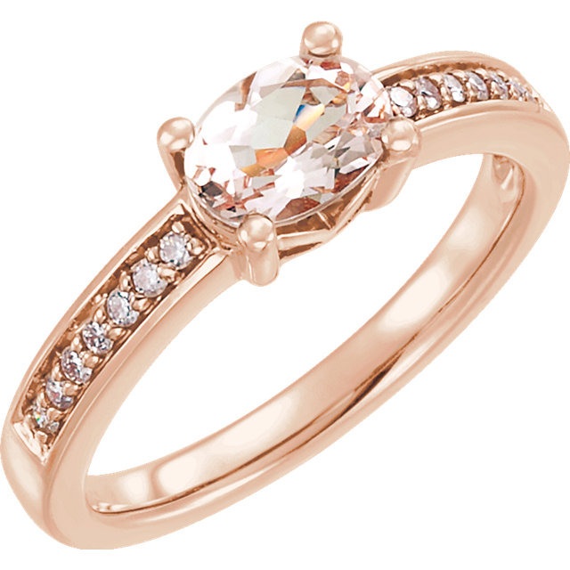 Great Buy in 14 Karat Rose Gold Morganite & 0.10 Carat Total Weight Diamond Ring