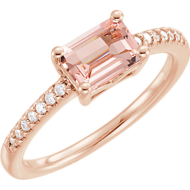 Easy Gift in 14 Karat Rose Gold Morganite & 0.10 Carat Total Weight Diamond Ring