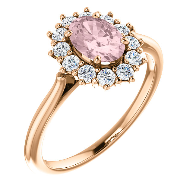 Great Buy in 14 KT Rose Gold Morganite & 0.33 Carat TW Diamond Ring