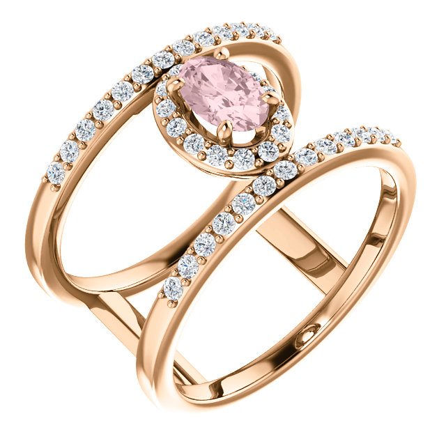 Jewelry Find 14 KT Rose Gold Morganite & 0.33 Carat TW Diamond Ring