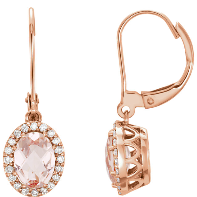 Must See 14 Karat Rose Gold Morganite & 0.20 Carat Total Weight Diamond Earrings