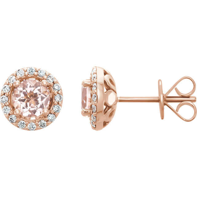 Stunning 14 Karat Rose Gold Morganite & 0.20 Carat Total Weight Diamond Earrings