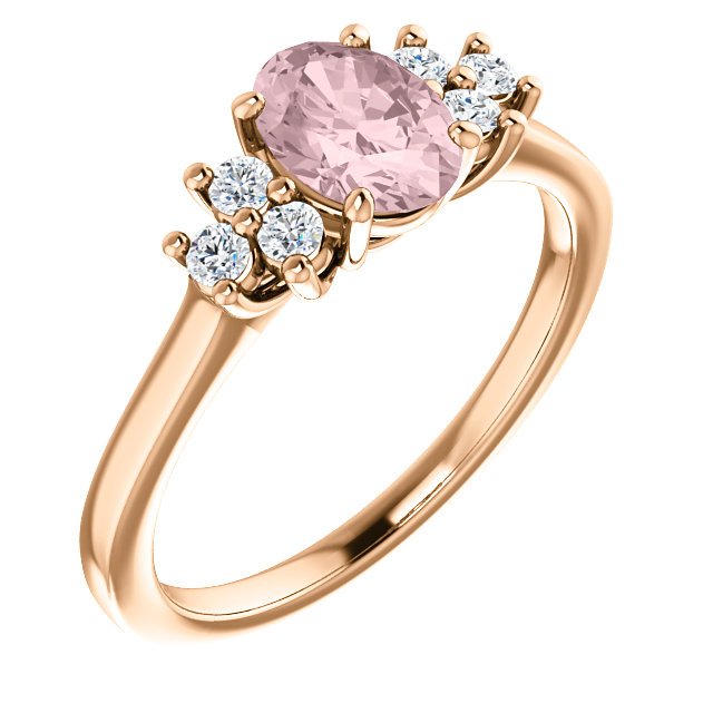 Shop Real 14 KT Rose Gold Morganite & 0.20 Carat TW Diamond Ring