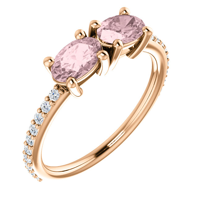 Great Deal in 14 Karat Rose Gold Morganite & 0.20 Carat Total Weight Diamond Ring