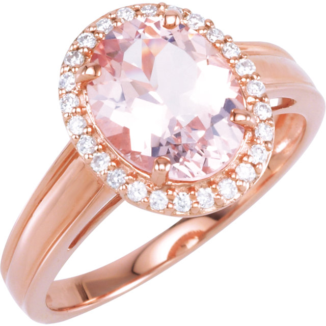 Quality 14 KT Rose Gold Morganite & 0.17 Carat TW Diamond Ring