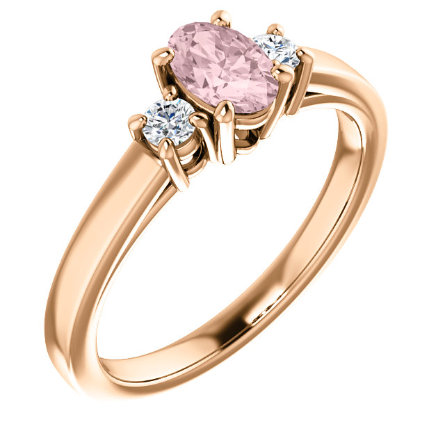 Appealing Jewelry in 14 Karat Rose Gold Morganite & 0.12 Carat Total Weight Diamond Ring