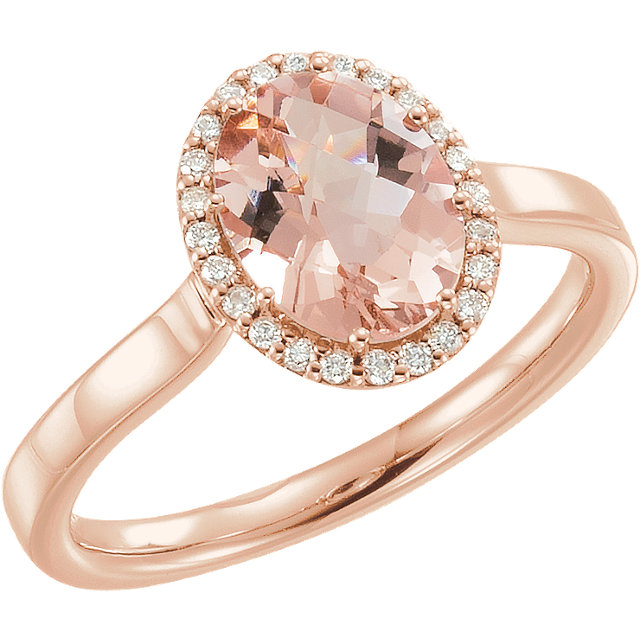 Very Nice 14 Karat Rose Gold Morganite & 0.12 Carat Total Weight Diamond Ring