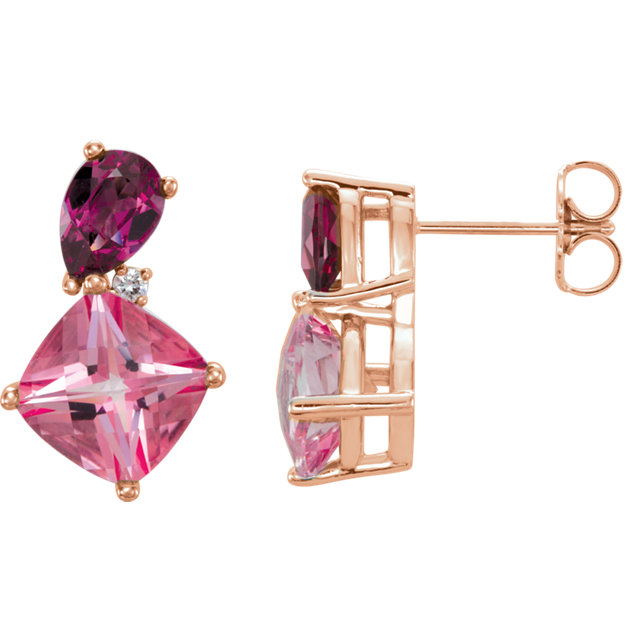 Appealing Jewelry in 14 Karat Rose Gold Multi-Gemstone & .03 Carat Total Weight Diamond Earrings