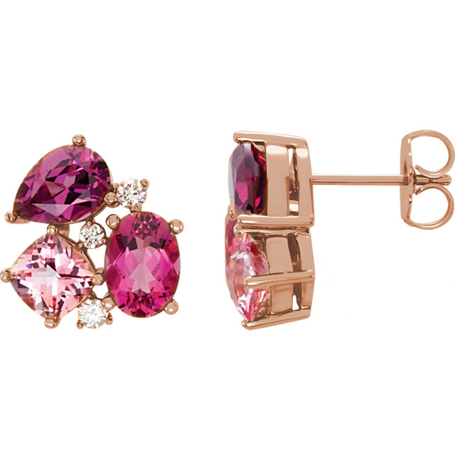 Classic 14 Karat Rose Gold Multi-Gemstone & 1/6 Carat Total Weight Diamond Earrings