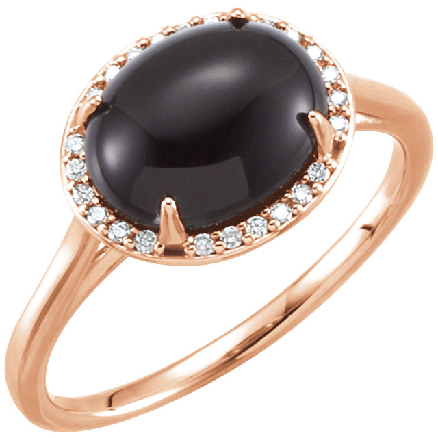 Beautiful 14 Karat Rose Gold Onyx & .06 Carat Total Weight Diamond Ring