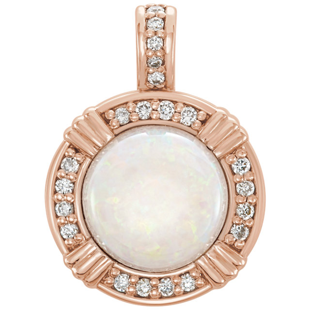 Perfect Jewelry Gift 14 Karat Rose Gold Opal & 0.10 Carat Total Weight Diamond Pendant