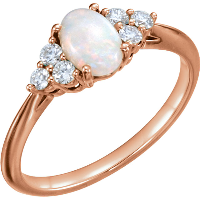 Beautiful 14 Karat Rose Gold Opal & 0.20 Carat Total Weight Diamond Ring