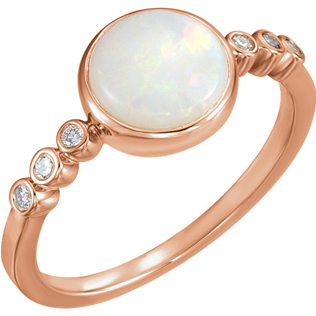 Appealing Jewelry in 14 Karat Rose Gold Opal & 0.10 Carat Total Weight Diamond Ring