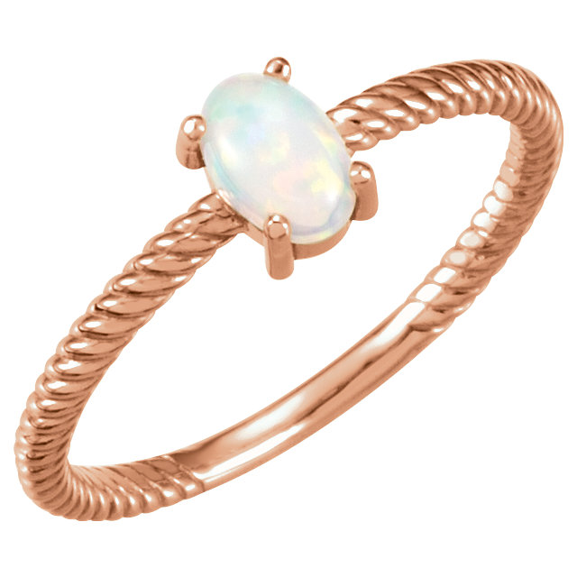 14 Karat Rose Gold Opal Cabochon Ring