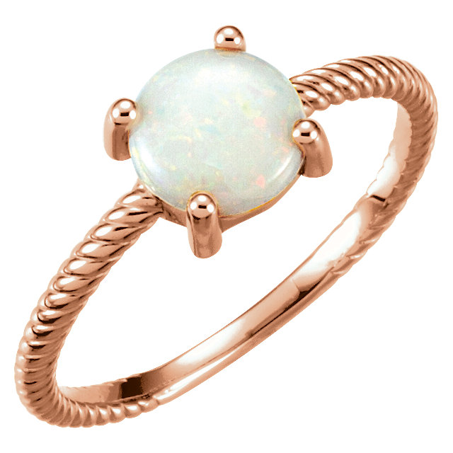 Chic 14 Karat Rose Gold Opal Cabochon Ring