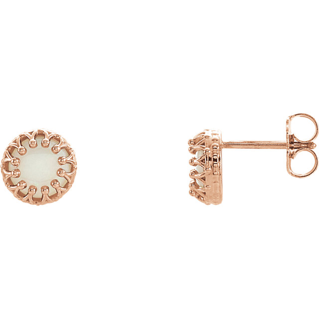 Perfect Gift Idea in 14 Karat Rose Gold Opal Crown Design Earrings with Backs