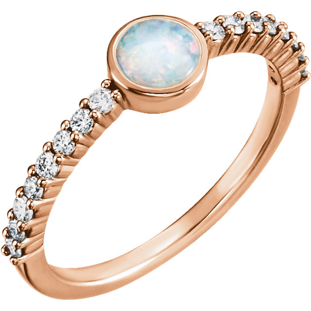 Great Gift in 14 Karat Rose Gold Opal & 0.25 Carat Total Weight Diamond Ring