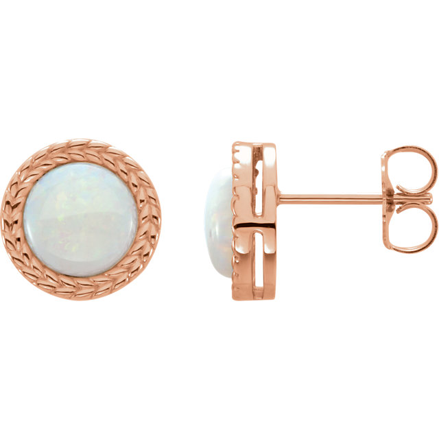 Contemporary 14 Karat Rose Gold Opal Earrings