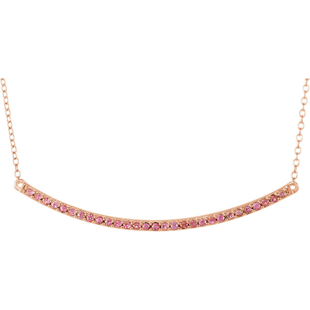 Low Price on Quality 14 KT Rose Gold Pink Sapphire Bar 16-18