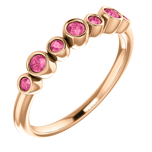 Perfect Jewelry Gift 14 Karat Rose Gold Pink Tourmaline Bezel-Set Ring