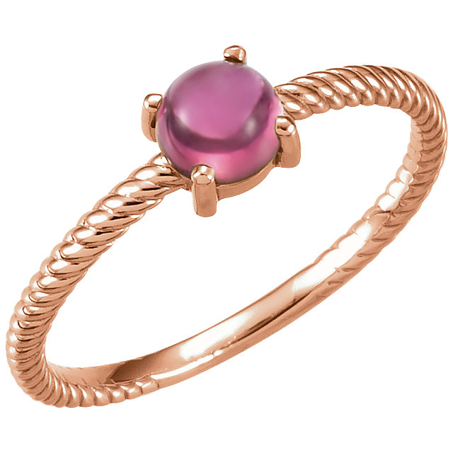 Very Nice 14 Karat Rose Gold Pink Tourmaline Cabochon Ring