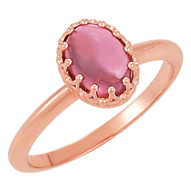 Eye Catchy 14 Karat Rose Gold Pink Tourmaline Crown Ring