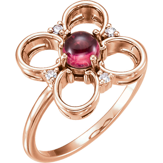 Great Buy in 14 KT Rose Gold Pink Tourmaline & Diamond Clover Ring