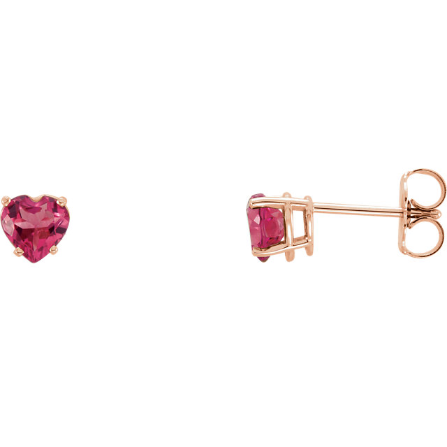 Quality 14 KT Rose Gold Pink Tourmaline Heart Earrings
