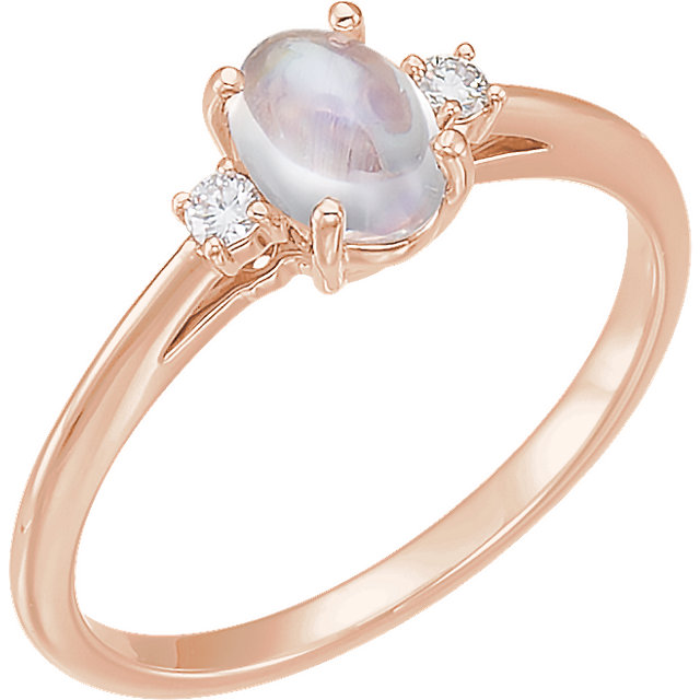 14 KT Rose Gold Rainbow Moonstone & .06 Carat TW Diamond Ring