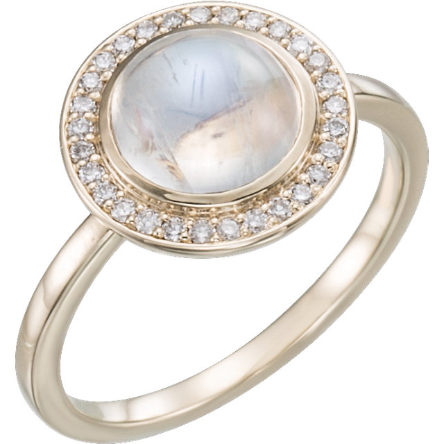 Easy Gift in 14 Karat Rose Gold Rainbow Moonstone & 0.12 Carat Total Weight Diamond Ring