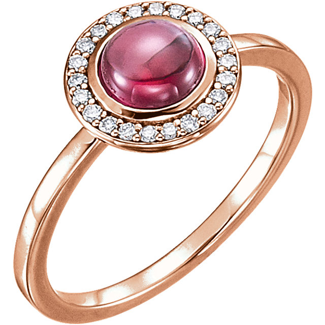 Perfect Jewelry Gift 14 Karat Rose Gold Rhodolite & 0.10 Carat Total Weight Diamond Ring