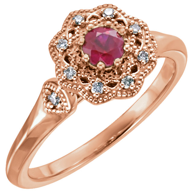 Very Nice 14 Karat Rose Gold Ruby & 0.10 Carat Total Weight Diamond Ring