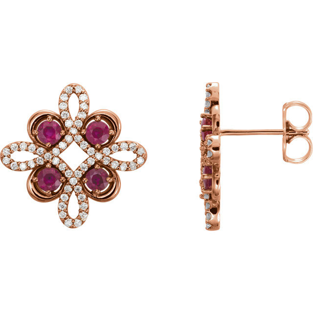 Great Deal in 14 Karat Rose Gold Ruby & 0.25 Carat Total Weight Diamond Earrings
