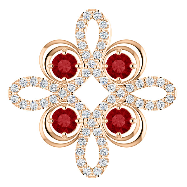 Fine Quality 14 Karat Rose Gold Ruby & 0.17 Carat Total Weight Diamond Clover Pendant