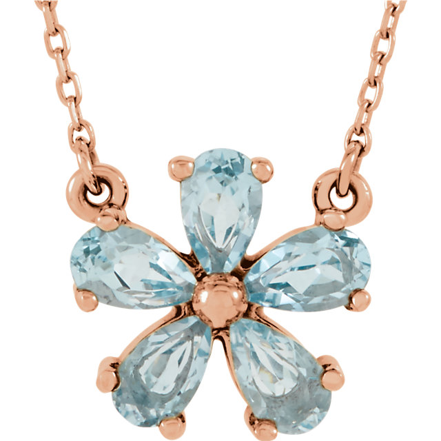Perfect Gift Idea in 14 Karat Rose Gold Sky Blue Topaz 16