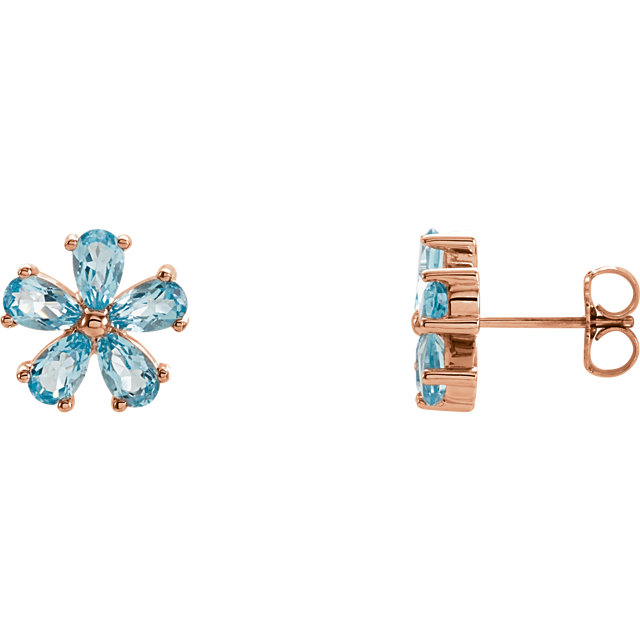 Great Deal in 14 Karat Rose Gold Sky Blue Topaz Earrings