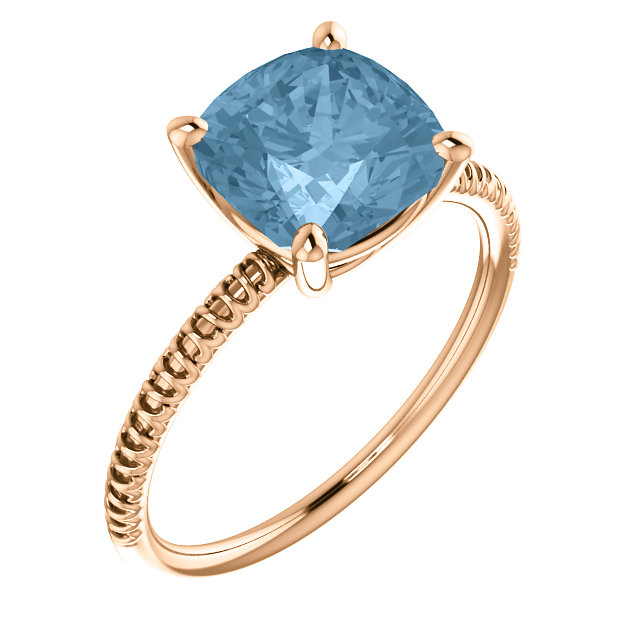 Incredible 14 Karat Rose Gold Cushion Genuine Sky Blue Topaz Ring