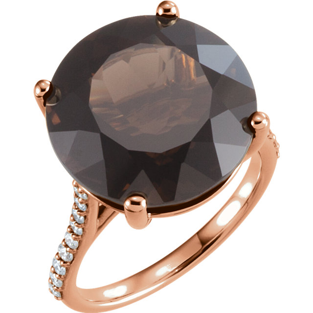 Perfect Jewelry Gift 14 Karat Rose Gold Smoky Quartz & 0.25 Carat Total Weight Accented Diamond Ring