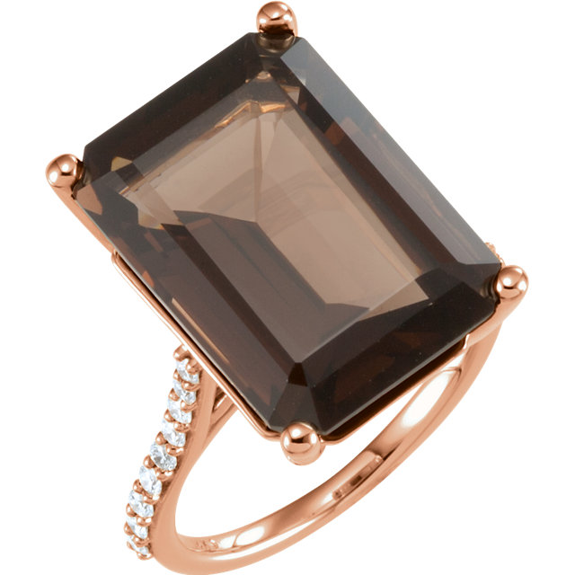Appealing Jewelry in 14 Karat Rose Gold Smoky Quartz & 0.25 Carat Total Weight Diamond Ring