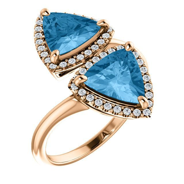 Stylish 14 Karat Rose Gold Triangle Genuine Swiss Blue Topaz & 1/5 Carat Total Weight Diamond Ring