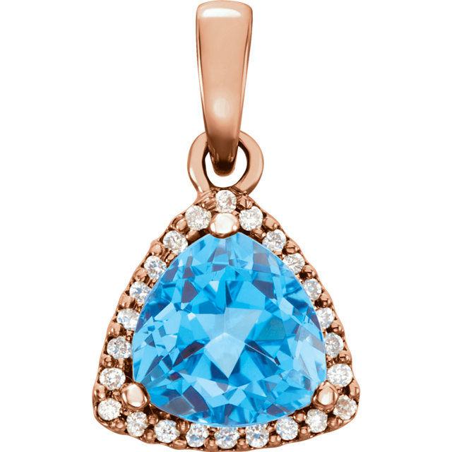 Beautiful 14 Karat Rose Gold Swiss Blue Topaz & 0.12 Carat Total Weight Diamond Pendant