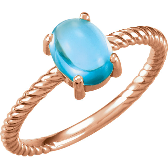 Enchanting 14 Karat Rose Gold Oval Genuine Swiss Blue Topaz Cabochon Ring