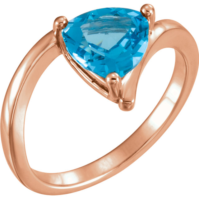 Stylish 14 Karat Rose Gold Trillion Genuine Swiss Blue Topaz Ring