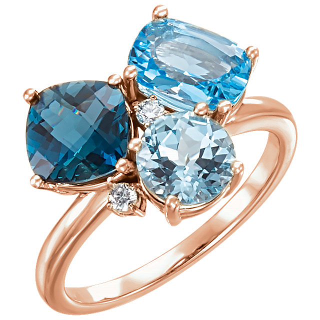 Pleasing 14 Karat Rose Gold Cushion Genuine Swiss, Cushion Genuine London, & Cushion Genuine Sky Blue Topaz & .05 Carat Total Weight Diamond Ring