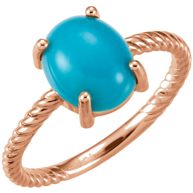 Great Deal in 14 Karat Rose Gold Turquoise Cabochon Ring