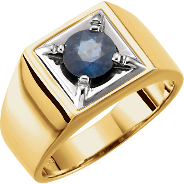 14K Two-Tone Blue Sapphire Men's Ring