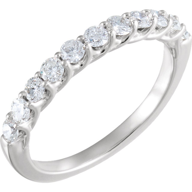 Natural 14 KT White Gold 5/8 Carat TW Round Genuine Diamond Anniversary Band