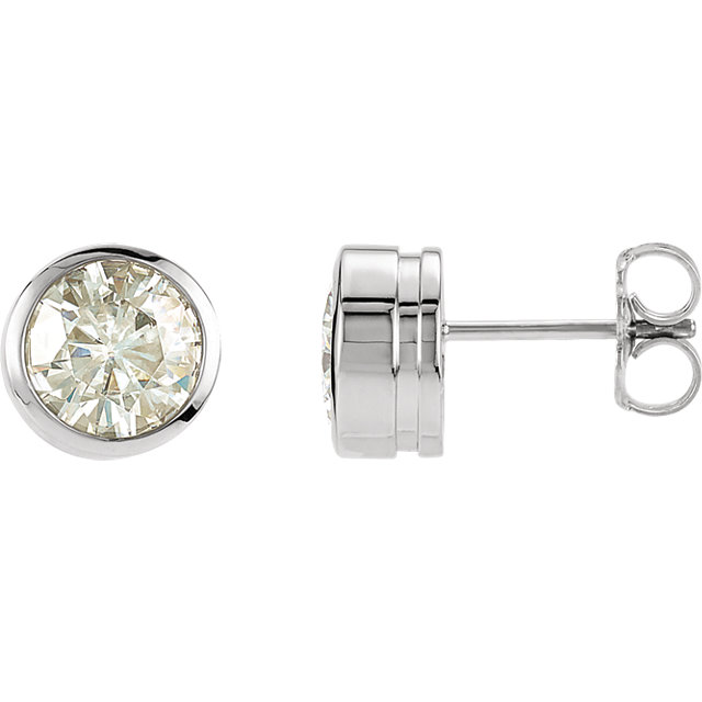 14kt White 6.5mm Round Forever Classic Moissanite Bezel Set Stud Earrings