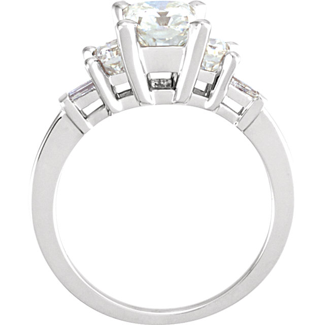 14kt White Forever Classic Moissanite & 1/6 Carat Total Weight Diamond Three-Stone Engagement Ring